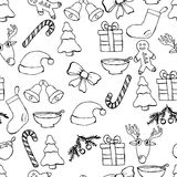 Hand drawn seamless christmas background. Black pen objects drawing. Design illustration for poster, flyer . Royalty Free Stock Photos