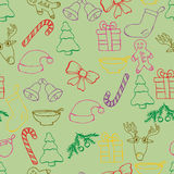 Hand drawn seamless christmas background. Color pen objects drawing. Design illustration for poster, flyer . Stock Photo