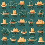 Hand Drawn Seamless Cowboy Hats and Mustaches Wild West Halftone Outlaw Pattern on Teal Background. stock illustration