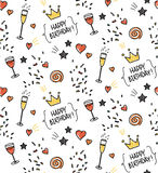 Hand drawn seamless doodle pattern, birthday theme Stock Photography