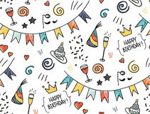 Hand drawn seamless doodle pattern, birthday theme Stock Image