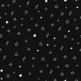 Hand drawn seamless doodle pattern of stars and Stock Photo