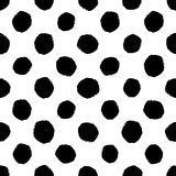 Hand drawn seamless dot pattern. Dry brush and rough edges. Stock Images