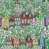 Hand drawn  seamless Dutch city pattern. Vector seamless pattern with a spring fictional Dutch city. Hand drawn Stock Image