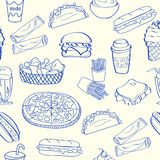 Hand Drawn Seamless Fast Food Icons Stock Photo