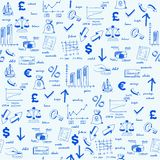 Hand Drawn Seamless Finance Icons Royalty Free Stock Images