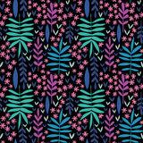 Hand-drawn seamless floral pattern. Hand-drawn colorful seamless floral pattern, decorative floral texture, leaves and flowers on black background stock illustration