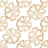 Hand drawn seamless floral pattern with orange flower. On white background. Vector illustration Stock Photography