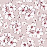 Hand-drawn seamless flowers pattern. On pink background illustration Stock Photo