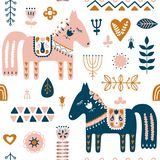 Hand drawn seamless folk art pattern. Nordic repeating pattern with Dala Horse. vector illustration