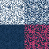 Hand drawn seamless folk pattern with leaves and Royalty Free Stock Photography