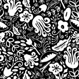 Hand Drawn Seamless Funky Monochrome Vintage Floral Pattern in black and white. Great for fabric, home decor, apparel, accessories, scrapbooking, and Stock Photography