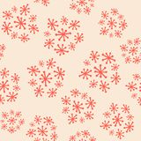 Hand Drawn Seamless Funky Vintage Starburst Cluster Floral Pattern in salmon and almond cream. royalty free illustration