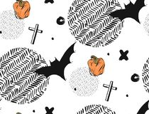 Hand drawn Seamless Halloween vector abstract textured pattern with bats,crosses and pampkins.Isolated on white. Background with round polka dot and zig zag Stock Image