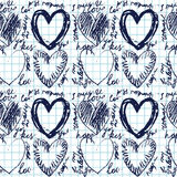 Hand-drawn seamless heart pattern. This is file of EPS8 format Stock Photos