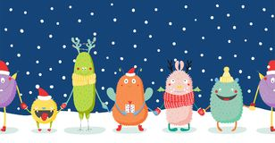 Christmas card with cute funny monsters stock illustration