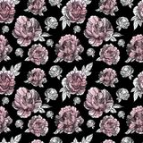 Hand drawn seamless ink peoniy pattern. Graphic illustrations for design projects Royalty Free Stock Images