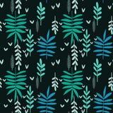 Hand-drawn seamless leaf pattern. Hand-drawn seamless green leaf pattern on black background, decorative floral texture stock illustration
