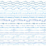 Hand drawn seamless  line border set.Winter Doodle Royalty Free Stock Photography