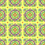 Hand-drawn yellow pattern with floral elements royalty free illustration