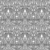Hand drawn seamless owl pattern. Black & white owl pattern suitable for adult coloring books Stock Photos