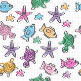Hand drawn seamless pattern. With funny colored marine life Stock Illustration