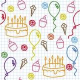 Hand drawn seamless pattern. Birthday seamless pattern on paper page Stock Photos