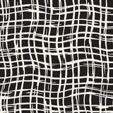 Hand drawn seamless pattern. Allover pattern with ink doodle grunge grid. Graphic background with freehand line tartan. Royalty Free Stock Images