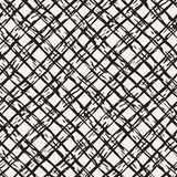 Hand drawn seamless pattern. Allover pattern with ink doodle grunge grid. Graphic background with freehand line tartan. Stock Image
