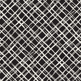 Hand drawn seamless pattern. Allover pattern with ink doodle grunge grid. Graphic background with freehand line tartan. Royalty Free Stock Photo