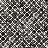 Hand drawn seamless pattern. Allover pattern with ink doodle grunge grid. Graphic background with freehand line tartan. Stock Photo