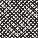 Hand drawn seamless pattern. Allover pattern with ink doodle grunge grid. Graphic background with freehand line tartan. Royalty Free Stock Photography
