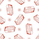 Hand drawn seamless pattern with almond cake vector illustration