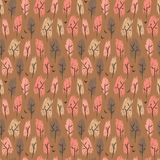 Hand drawn seamless pattern with autumn forest Stock Images
