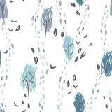 Hand drawn seamless pattern with autumn forest Royalty Free Stock Photography