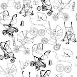 Hand drawn seamless pattern of baby prams, carriages and strolle Stock Image