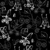 Hand drawn seamless pattern of baby prams, carriages and strolle Stock Photography