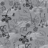 Hand drawn seamless pattern of baby prams, carriages and strolle Royalty Free Stock Image