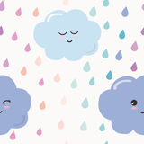 Hand drawn seamless pattern background with colorful watercolor drops and clouds. For kids. Kawaii design. Vector royalty free illustration