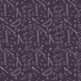 Hand-drawn seamless pattern background. School, business supplies to illustrate chemical experiments and work. Hand drawing. Stock Images