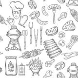 Hand drawn seamless pattern barbecue Royalty Free Stock Photo