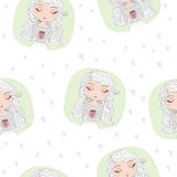 Hand drawn seamless pattern with beautiful cute girl with cup in his hands. Vector illustration Stock Photo