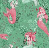 Hand-drawn seamless pattern of beautiful mermaid character and underwater sea illustration. Repeated background vector illustration