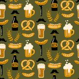 Hand drawn seamless pattern with Beer and Food. Craft beer print. stock illustration