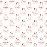 Hand drawn seamless pattern with berry cake stock illustration
