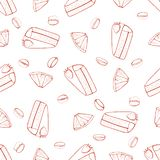 Hand drawn seamless pattern with berry cake vector illustration