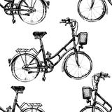 Hand drawn seamless pattern with bicycle Royalty Free Stock Photo