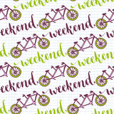 Hand drawn seamless pattern with bikes and weekend lettering. Vector background with tandem bicycle for design decoration. Royalty Free Stock Image