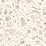 Hand drawn seamless pattern with Birthday elements Stock Photo