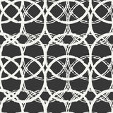 Hand drawn seamless pattern with black grunge rings, circle. Wrapping paper.  Stock Photography